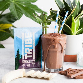 TRIBE Protein Shake Sachet Box 12x38g, cocoa/sea salt